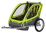 Schwinn 13-SC678 Caribou Double Bike Trailer with Quick-Release Wheels, Lime Green, 16' Wheels