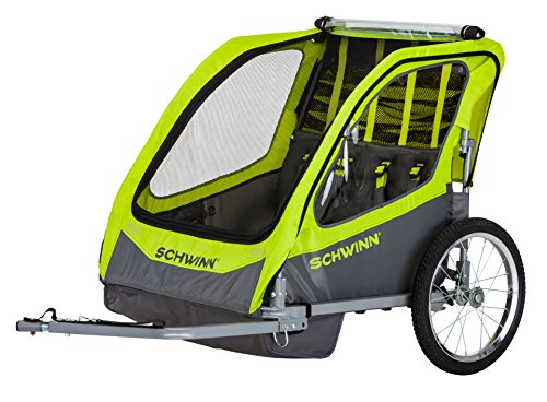 Check Out This Schwinn 13-SC678 Caribou Double Bike Trailer with Quick-Release Wheels, Lime Green, 1...