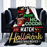 Lets Bake Stuff Drink Hot Cocoa Watch Christmas Movies Blanket Super Soft Decorative Throw Blanket Cozy Plush Lightweight Fluffy Blanket For Bed Sofa Couch Cover Living Bed Room 50x40 Inch For Kids
