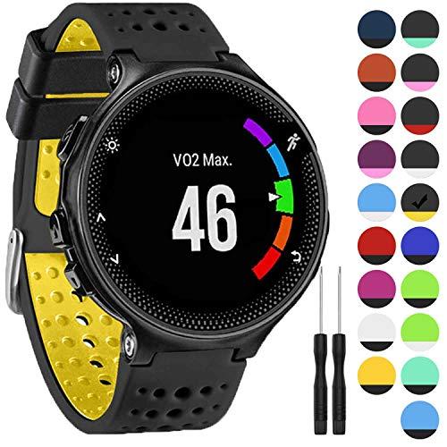 GVangel Armband kompatibel mit Garmin Forerunner 235, weiches Silikon Ersatz-Uhrenarmband für 220/230/235/620/630/735XT/235 Lite Smart Watch für Damen und Herren, Schwarz/Gelb