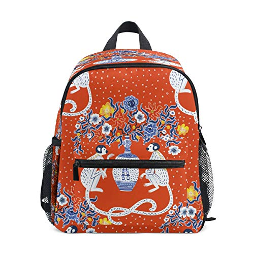 RXYY Kids Backpacks Vintage Flowers Monkeys Shoulder Travel Toddler Preschool School Bag Casual Backpack with Chest Strap for Girls Boys