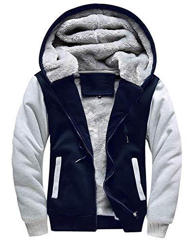 Little Beauty Men's Winter Thicken Fleece Sherpa Lined Zip Up Hoodie Heavyweight Jacket(XL,Navy-Grey)