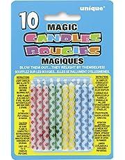 Unique Party Paquete de 10 Velas de cumpleaños mágicas, diseño de Diamante (9806) , Modelos/colores Surtidos, 1 Unidad