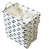 iTemer Cesta de almacenamiento de lino y algodón cuadrado con cordón para ropa sucia, a prueba de polvo, cubo plegable para guardar artículos