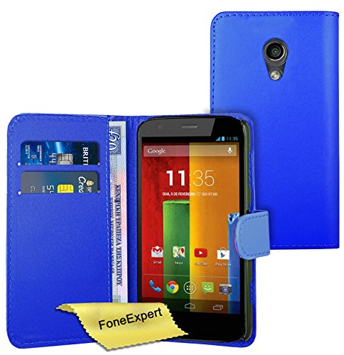 FoneExpert® Wallet Hülle Flip Cover Hüllen Etui Ledertasche Lederhülle Premium Schutzhülle für Motorola Moto G 2. Generation + Bildschirmschutzfolie (Blau)