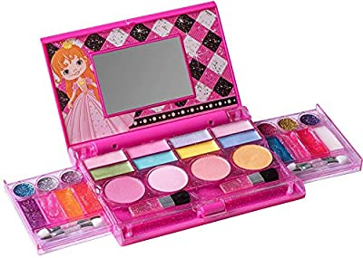 Playkidz My First Princess Makeup Chest, Girl's All-In-One Deluxe Cosmetic and Real Makeup Palette with Mirror (Washable) by Playkidz