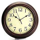 Garden Clocks Outdoor Waterproof, Classic Vintage Scaleless Digital Quartz Outdoor Clocks for the Garden Wall Mounted Sweeping Movement Battery Powered Outside Clock Round Wood Color 30cm