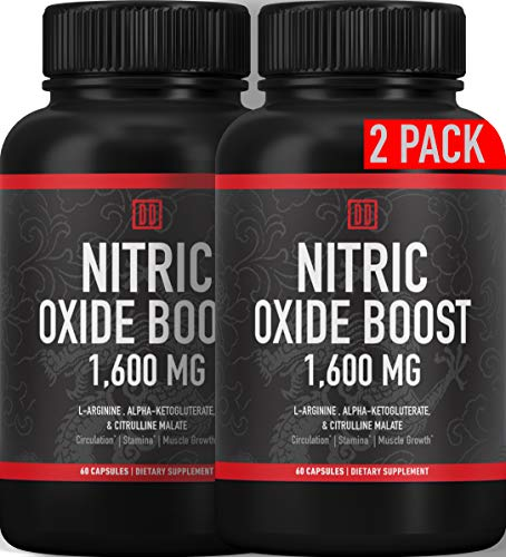 (2-Pack) Nitric Oxide Booster Supplement - 1600mg Extra Strength L-Arginine, Citrulline Malate, and Alpha-Ketoglutarate for Muscle Growth, Vascularity & Energy - Double Dragon Organics (120 Caps)