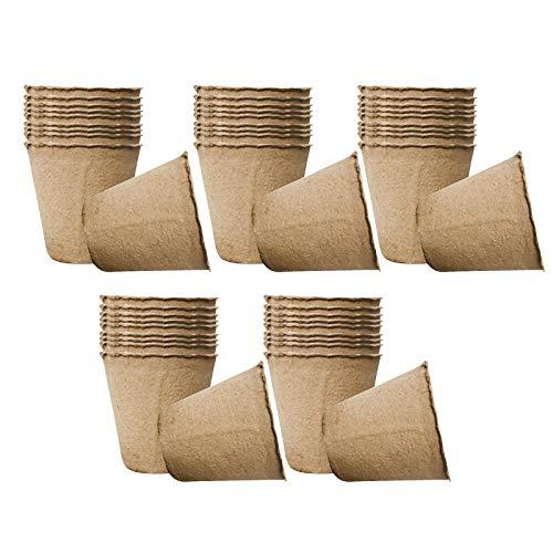 Nobranded Bandeja de Semillas Biodegradables Tazas de Plántulas de Pulpa Kit de Macetas de Inicio de Semillas - 8cm 50pcs