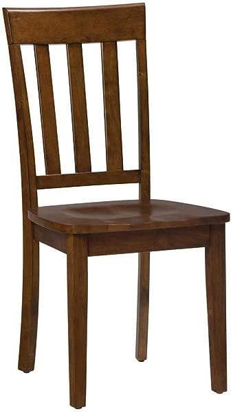 Slat Back Side Chair In Caramel Finish Set Of 2