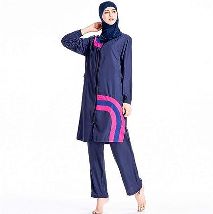 Heligen - Costume da bagno islamico a maniche corte, da donna, stile burkini M 3 Blue