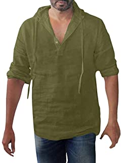 Men's Long Sleeve Hooded Henley Shirts Breathable Cotton Linen Solid Baggy Plus Size Tees Tops by PERSOLE