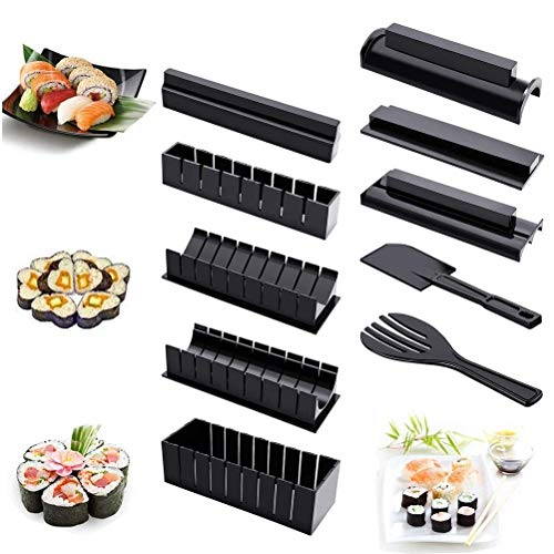 Sushi Making Kit, 11 Pieces DIY Plastic Sushi Maker Tool Set Complete with 8 Sushi Rice Roll Mold Shapes and 3 Fork knife, Home Kitchen Sushi Tool for Beginners, Black