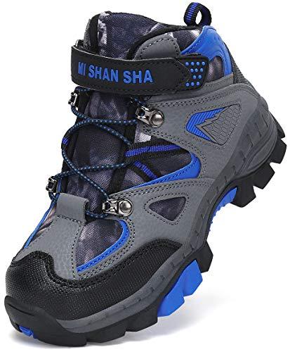 Mishansha Wanderstiefel Kinder Leichte Wanderschuhe Jungen Sportlich Outdoorstiefel Mädchen rutschfeste Trekkingstiefel Brandeis Blue Gr.37