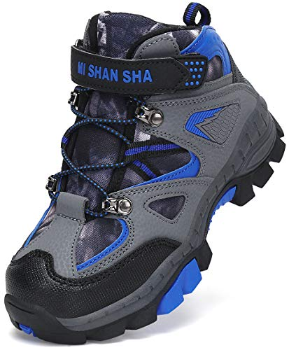 Mishansha Botas de Trekking Niño Antideslizante Botas de Senderismo Niña Ligero Zapatillas Montaña Al Aire Libre Botas de Nieve Brandeis Azul Gr.26