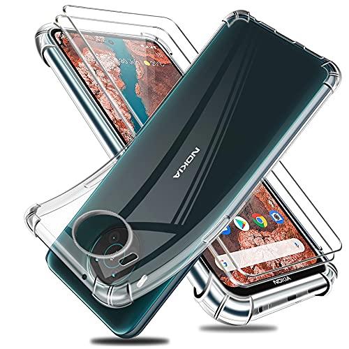 Reshias Hülle Kompatibel mit Nokia X20, Transparent Weich TPU Anti-Fall Schutzhülle mit Zwei Gehärtetes Glas Schutzfolie Bildschirmschutzfolie für Nokia X20 / X10 5G (6,67 Zoll)