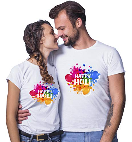 Raavi colors Couple Holi Tshirt Happy Holi Multi Printed   Unisex   White   Round Neck   Polyster  Size-S,M,L,XL,XXL