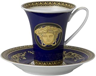 Versace Medusa Cup High and Saucer for Coffee, Porcelain, Blue, 17x 17x 7.7cm