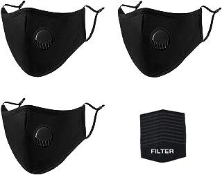3 Pack Reusable Face Mask, Mouth Mask, Black Cotton Mask, Protective Mask, Reusable Dust Mask, Black, Model Number: PPBU3-6