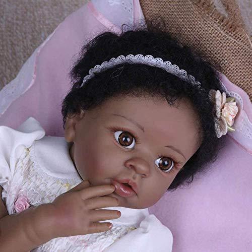 XHDMJ Baby Baby-Dolls Mädchen Black Skin Soft Silicone Vinyl Child Es Lifelike Playmate Newborn Babies Toy 55Cm,Color1,55Cm