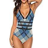 Blue and White Tartan Pattern, Women One Piece Bikini Swimsuit, V Neck Beach Swimwear Bathing Suit