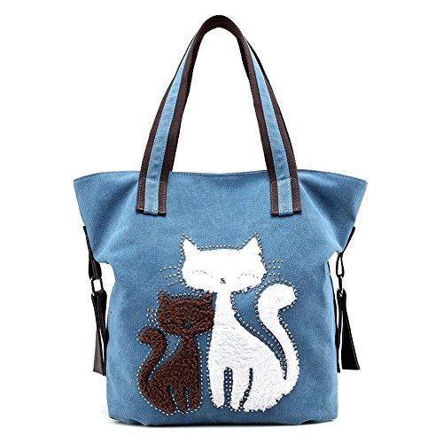Hiigoo Lovely Canvas Cat Tote Bag Casual Handbag Shopping Bag Shoulder Bags Large Totes (Blue)