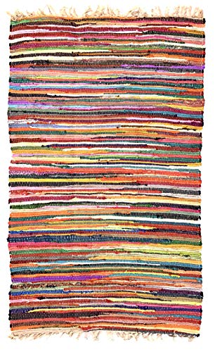 Hermosa alfombra multicolor Chindi Rag, comercio justo de Second Nature, algodón, Multi Colours, 120 cm x 180 cm