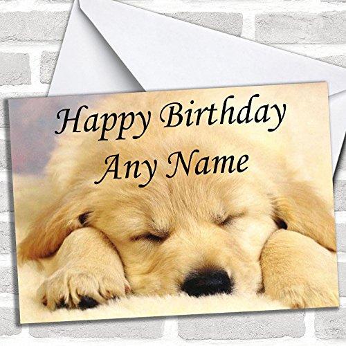 Slapende Labrador Puppy verjaardagskaart met envelop, kan volledig gepersonaliseerd worden, snel en gratis verzonden