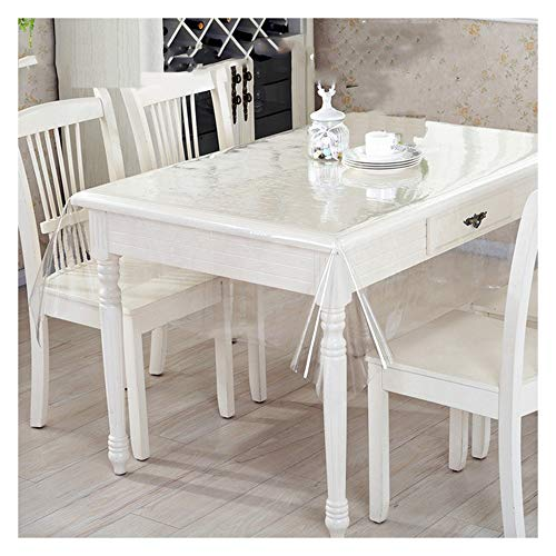 GHHQQZ Clear Table Cloth Cover Protector, Soft Plastic Easy to Clean Anti-scalding PVC for All Countertops, Thickness 0.25mm/0.5mm Customizable (Color : 0.5mm, Size : 140x300cm)