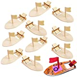 Amersumer 10 Pcs DIY Toy Wood Boat Craft Kits, Mini Wooden Sailboat Kits, Paddle Boats Paint and Decorate for School Projects, Make Your Own Sailboat Craft