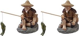 Cabilock 2Pcs Mini Fisherman Figurines Resin Chinese Mudman Sitting Fishing Garden Statue Ornament for Fish Tank Micro Landscape Bonsai Fairy Garden Decorations