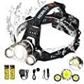 C CALOICS LED Headlamp, Brightest and Best 6000 Lumens L2 T6 Waterproof Headlight Headlamps, Rechargeable 18650 Batteries Hands-Free Flashlight for Night Fishing Running Hunting Camping
