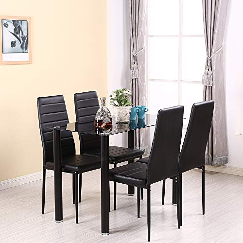 Panana Glass Rectangle Dining Table Set and 4 Leather Chairs Seats Black Color (105cm Set)