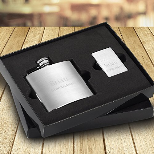 Personalized 4 oz. Brushed Flask and Lighter Gift Set