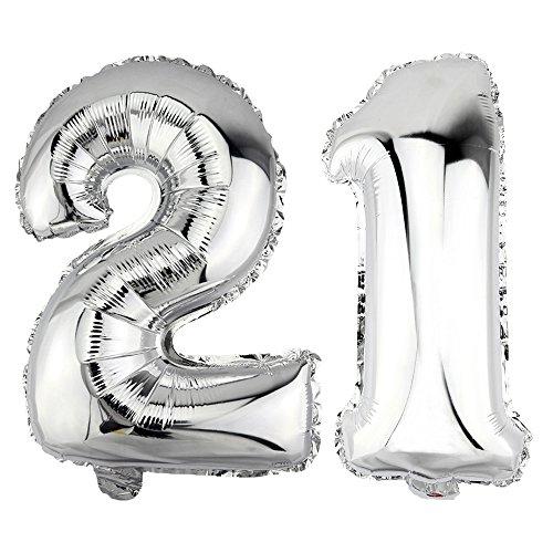 DekoRex® 21 als Folienballon Luftballon Zahlenballon Jahrestag Geburtstag in Silber 40cm hoch