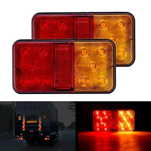 CICMOD 2 pzs Luces Traseras del Remolque 12V Luces de Freno LED Lámpara de Marcha Atrás Rosa y Amalillo para Camión Remolque Caravana Tractor