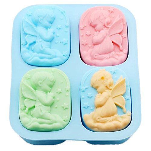 Leisial™ Seifen Gießformen Seife Seifenformen Silikon Kerzengießformen Engel Silikonform für Seife und Kerze Blau 18.5 * 14.5 * 3CM