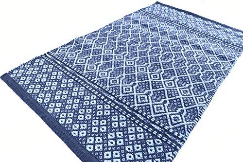 Sky - Alfombra de algodón lavable para baño o cocina, antideslizante, lavable, bordada, color azul, 50 x 80 cm