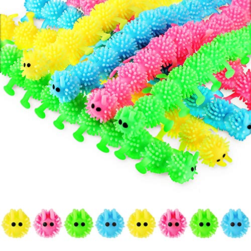 Charnoel 8 Pieces Fidget Sensory Toy Stretchy Toy for Anxiety, Caterpillars Fuzzy Worm Noodles Unicorn Dinosaur Dog Bat Play Toy for Stress Relief, Calming and Relaxing Present (Caterpillars Style)