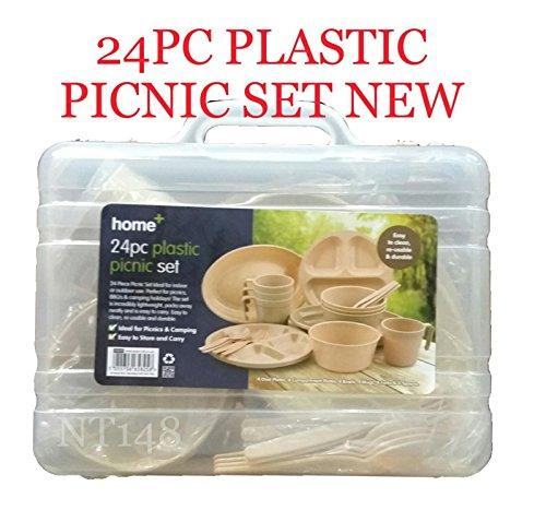 BS - Juego de 24 Platos Reutilizables de plástico para Acampada y Picnic, para Cuencos, Vasos y cucharas, Tenedores