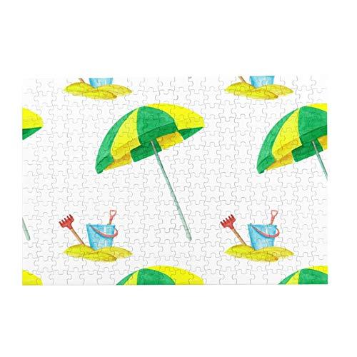 gjhj Paraguas de playa y cubo de 300 piezas rompecabezas para adultos y adolescentes, actividades de aburrimiento, descenso de cerebro, regalo de decoración del hogar