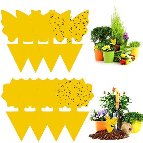 WELLXUNK® Autocollant Jaune Plante, 48 Pièces Pièges à Insectes, Pièges Autocollants, Pièges à Mouches Jaune, Pièges à Insectes Plante, pour Insectes Volants, Pucerons, Moustiques, Aleurodes, Mouches