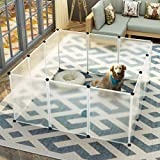 """MAGINELS Pet Playpen Dog Puppy Crate Kennel Rabbit Fence, Each Panel(20""""X28"""") Plastic Exercise Pen Cage Yard for Small Animals Rat Transparent 12 Panels"""