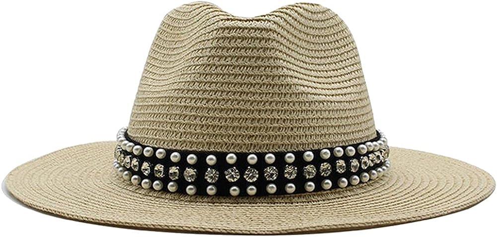 Summer Straw Hat for Men Women Sun Beach Jazz Hats Fedora Wide Brim Cap with Leather Belt