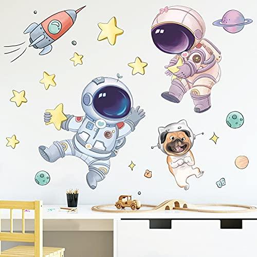 Lindo espacio astronauta pegatinas de pared para niños decoración de la pared del cuarto de niños vinilo extraíble calcomanías de PVC pegatinas de dormitorio decoración del hogar