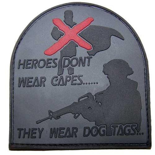 '3D Rubber Patch Heroes Don' t Wear Capes Soldier Gris