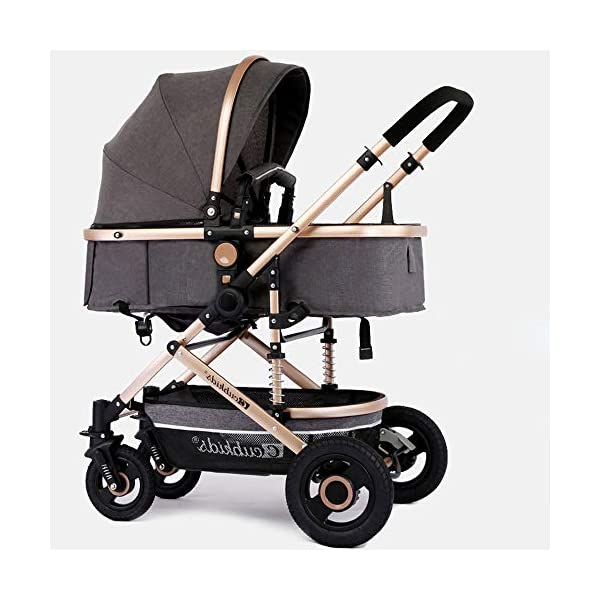 HHRen Multifunctional Baby Stroller Sitting And Lying And Shock-Absorbing Folding Baby Stroller, Detachable Sleeping Basket, Suitable Age: 0~3 Years Old,Gray HHRen ✔Enlarge the loose sleeping basket to move the crib, supported by breathable wooden boards on three sides; non-inflatable rubber solid wheels, explosion-proof, anti-tie, shock-absorbing, suitable for various road conditions and easy to implement ✔The body is made of high-quality and lightweight aluminum alloy. The whole car weighs only 8.6KG. It can be easily implemented by a 2-year-old baby. The front wheel rotates 360° and the diameter is 18CM. One-button orientation/unlocking makes the implementation smoother. ✔Elaborately developed one-piece shock absorber frame, triangular load-bearing, the frame uses double shock absorption springs, safe and secure; sandblasting process, corrosion resistance, rust resistance, high strength, scratch resistance and cold resistance 1