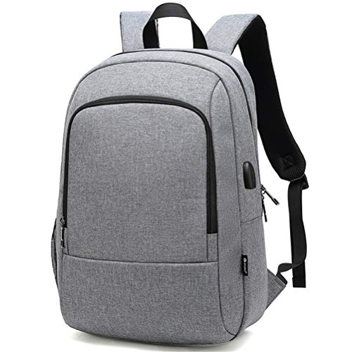 Laptop Backpack Mens Water Resistant Travel with USB Charging Port And 15.6 Inch Computer School Bag Anti Theft Casual Sports Daypack Women Student Gift,Gray