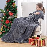 Flannel Fleece Wearable Blanket with Sleeves and Foot Pocket for Adult Women Men, 260GSM Lightweight Fuzzy Soft TV Blanket Throw Wrap for Bed Sofa Couch Travel Home Office (Gray, 71' x 51')