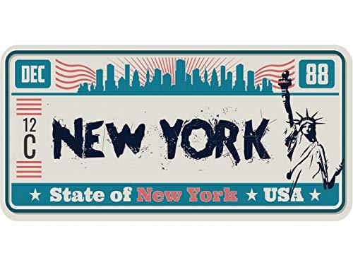Oedim Matricula Decorativa 30,00 cm x 15,00 cm New York   Decoración Pared   Aluminio 3 mm Resistente